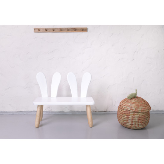 Natur white Bunny wood kid bench