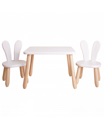 Natur White Bunny wood kid set