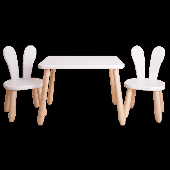 Natur White Bunny wood kid set